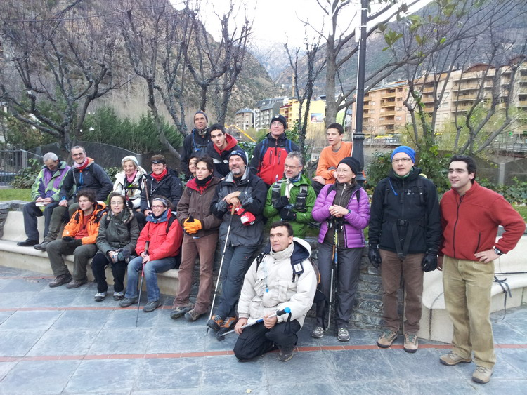 - Arriving in Sant Julià de Lòria, on the morning of 2 December 2012. Conxa is the 4th on the left, sitting on the 2nd row of the stone bench and wearing a red scarf.