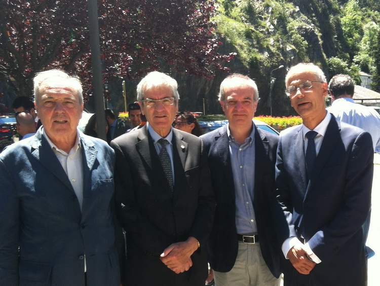 - From right to left, the Head of Government of Andorra, Antoni Martí; the Minister of Health, Carles Álvarez Marfany; the representative of the Episcopal Corps, Josep Maria Mauri and the representative of the Association of Friends of the Way from Pallerols de Rialb to Andorra, Jordi Piferrer.