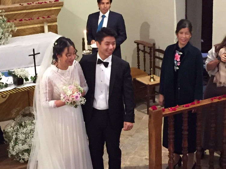 - After the liturgical celebration. To the right of the photo, Chengcheng's mother